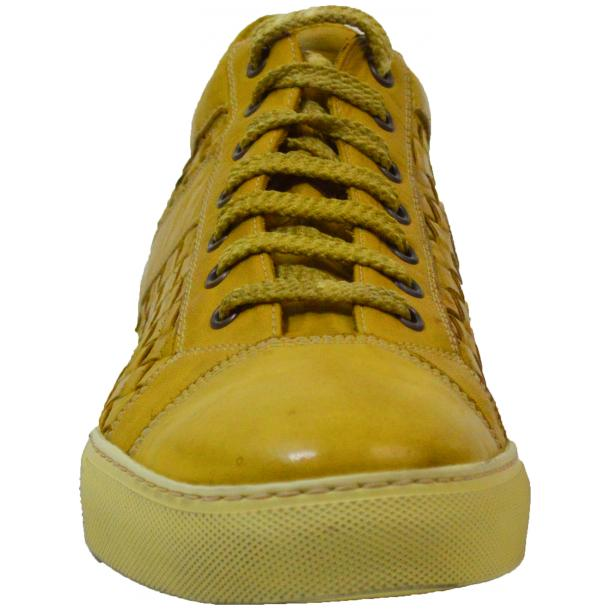 Tyler Dip Dyed Yellow Woven Sneakers Tan full-size #2