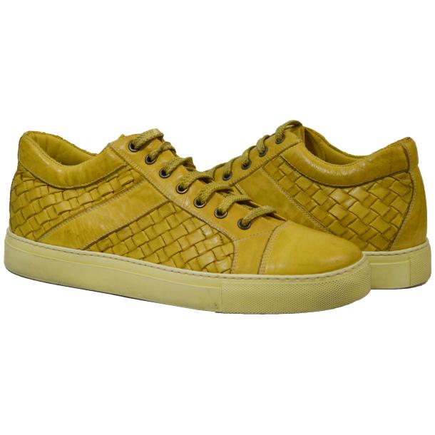 Tyler Dip Dyed Yellow Woven Sneakers Tan full-size #1