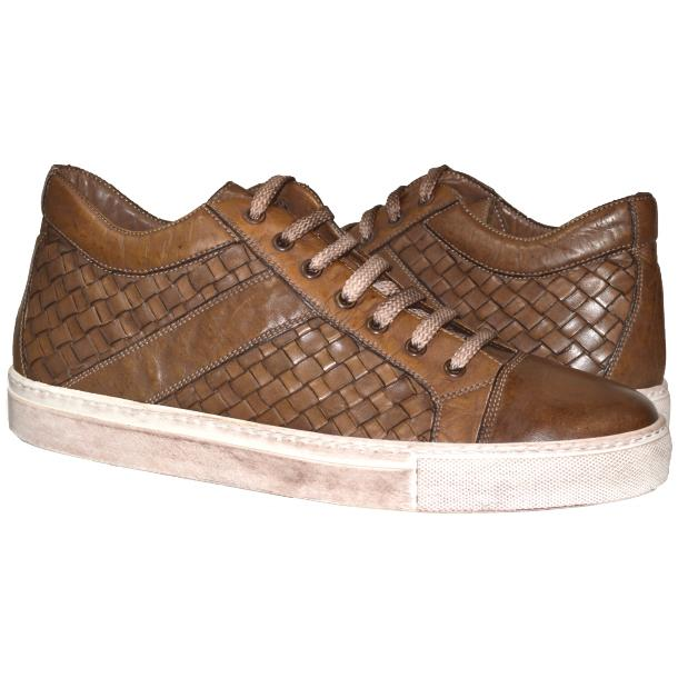 Carlo Dip Dyed Moor Woven Sneakers Tan full-size #1