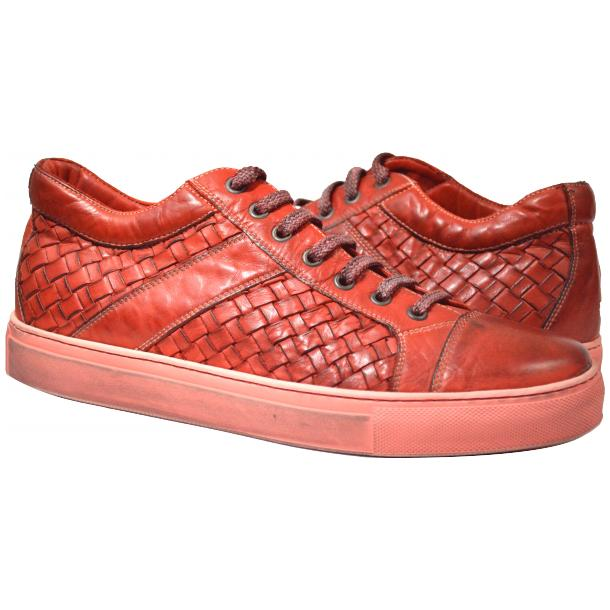 Anka Dip Dyed Red Woven Sneakers full-size #1