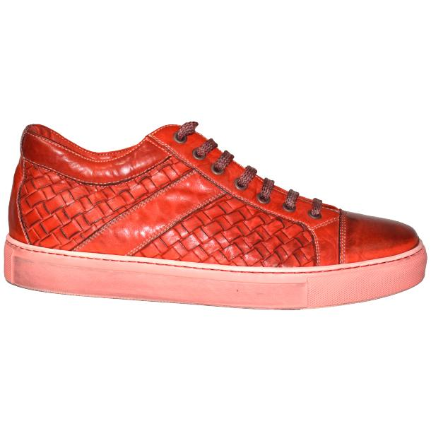 Anka Dip Dyed Red Woven Sneakers full-size #3