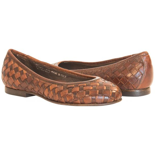 Skye Dip Dyed Brown Leather Woven Ballerina Flats full-size #1