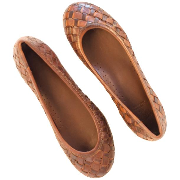 Skye Dip Dyed Brown Leather Woven Ballerina Flats full-size #2