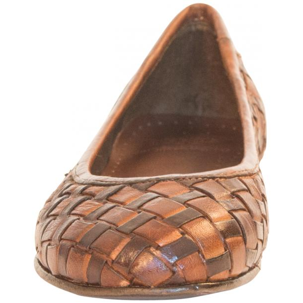 Skye Dip Dyed Brown Leather Woven Ballerina Flats full-size #3