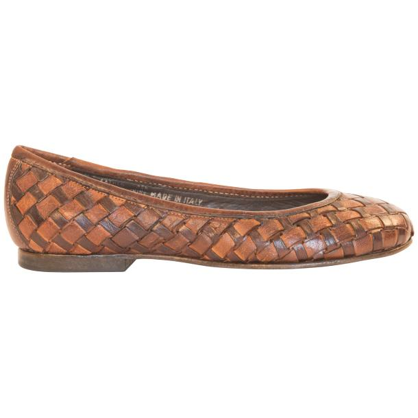 Skye Dip Dyed Brown Leather Woven Ballerina Flats full-size #4