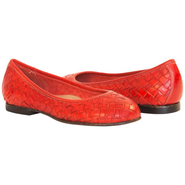 Marianna Dip Dyed Red Leather Woven Ballerina Flats full-size #1