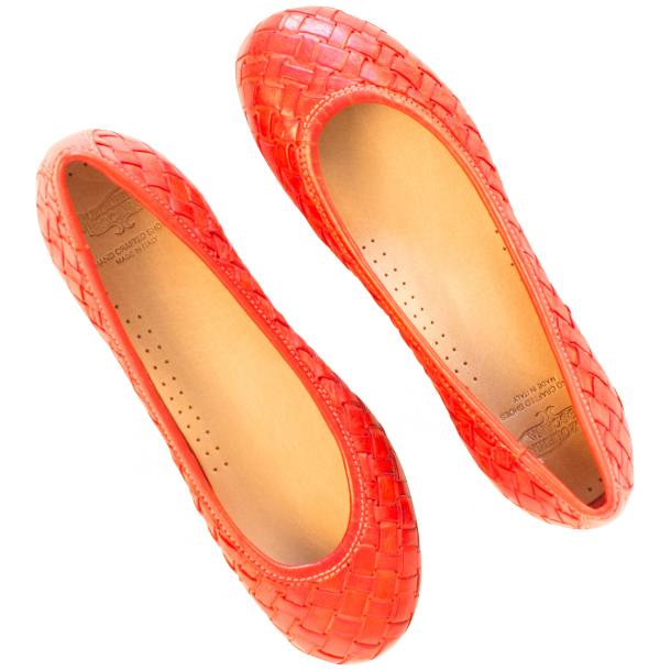 Marianna Dip Dyed Red Leather Woven Ballerina Flats full-size #2