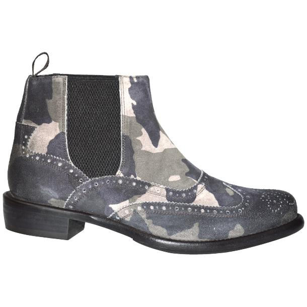 Ayla Camouflage Grey Suede Wing Tip Dip Dyed Chelsea Boot full-size #3
