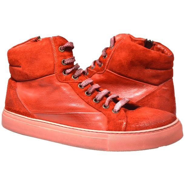 Errol Dip Dyed Fire Red Suede High Top Sneaker full-size #1