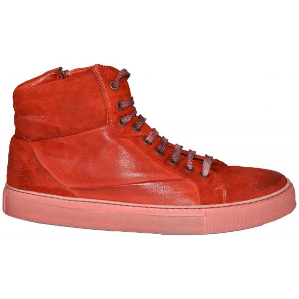 Errol Dip Dyed Fire Red Suede High Top Sneaker full-size #3