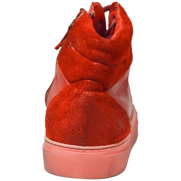 Errol Dip Dyed Fire Red Suede High Top Sneaker full-size #4