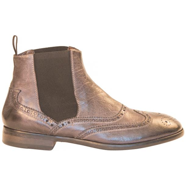 Cameron Dip Dyed Grey Nappa Leather Wingtip Chelsea Boots full-size #4