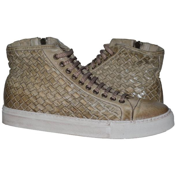 Gavin Dip Dyed Rope Beige Hand Woven High Top Sneakers full-size #1