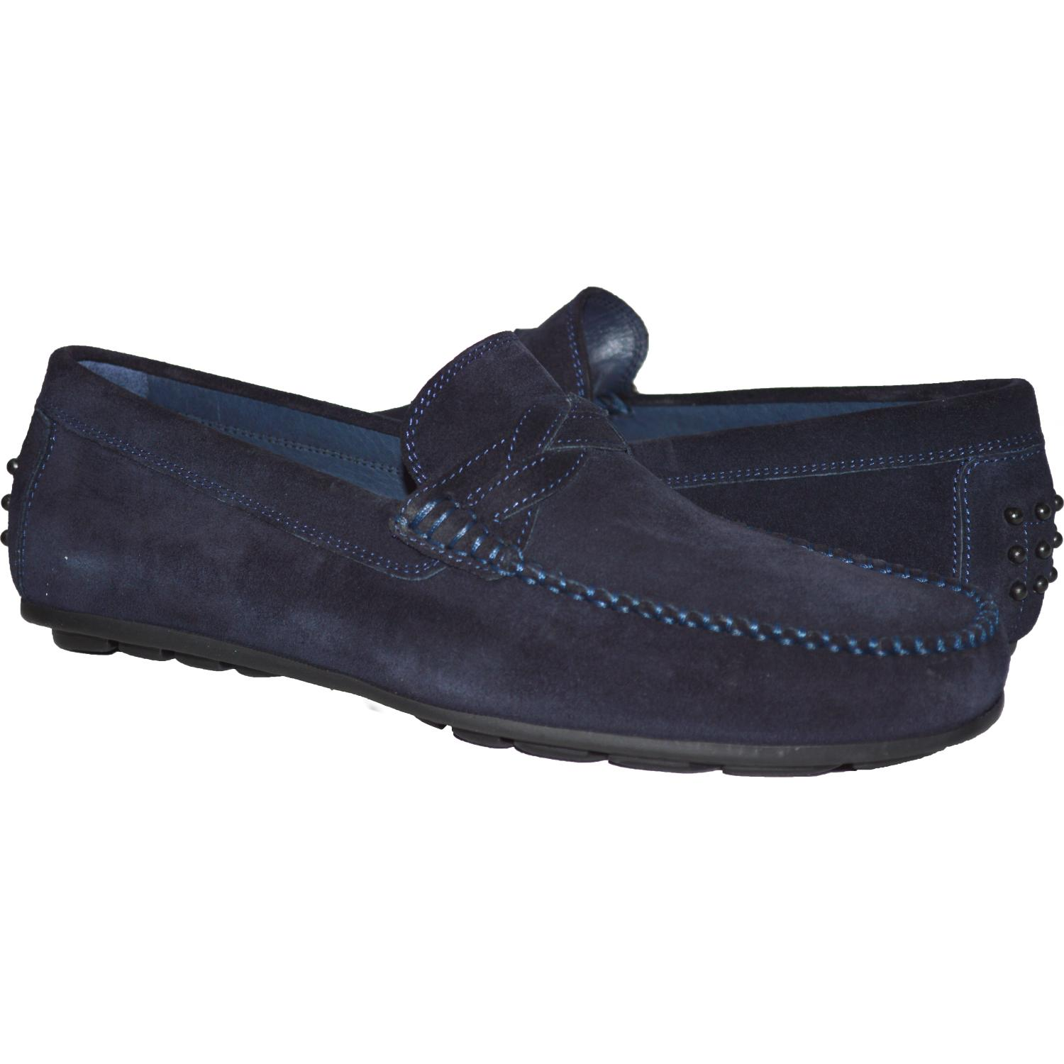 3411e524b94a2 Dino Blue Suede Driver Loafers | Paolo Shoes